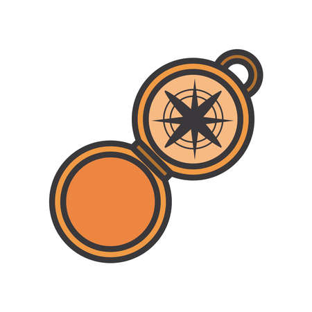 Compass line and fill style icon design, Tool navigation location north south west east travel map and adventure theme Vector illustration