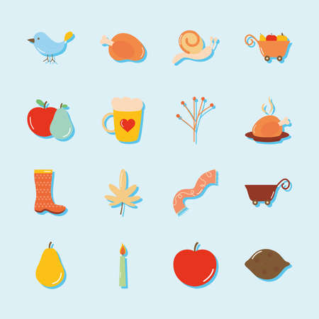 icon set of autumn and rain boots over blue background, flat style, vector illustration