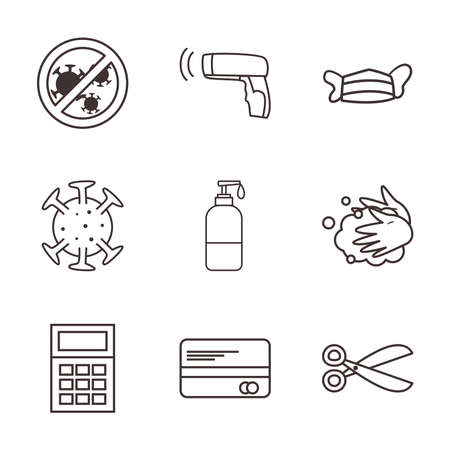 line style icon set design of Shopping commerce and covid 19 theme Vector illustration Vettoriali