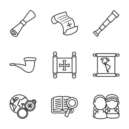 Columbus line style icons collection design of america and discovery theme Vector illustration