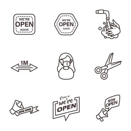 line style icons collection design of Shopping commerce and covid 19 theme Vector illustration