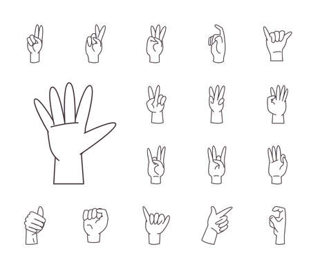 hand sign language alphabet line style collection of icons design of People help finger person learn communication healthcare theme Vector illustration Vettoriali