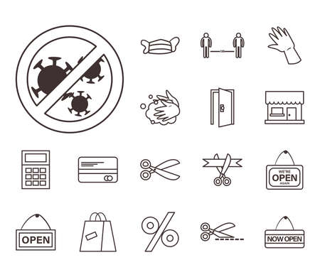 line style set of icons design of Shopping commerce and covid 19 theme Vector illustration