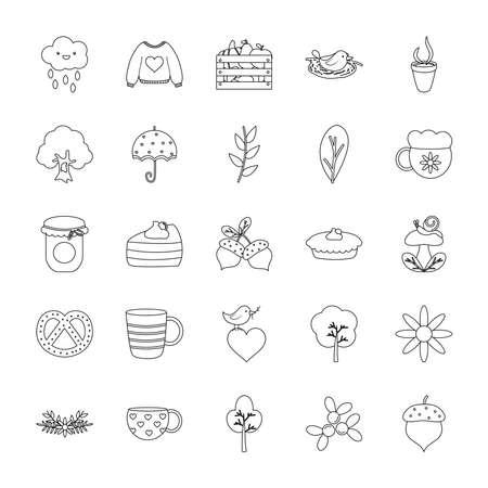 umbrella and autumn icon set over white background, line style, vector illustration Vettoriali