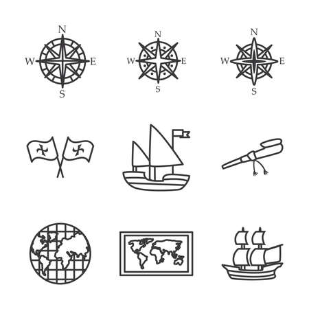 Columbus line style icon set design of america and discovery theme Vector illustration