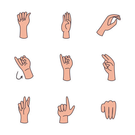 hand sign language alphabet line and fill style icon set design of People help finger person learn communication healthcare theme Vector illustration
