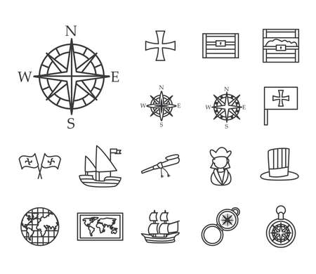 Columbus line style set of icons design of america and discovery theme Vector illustration Vettoriali