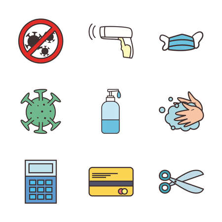 line and fill style icon set design of Shopping commerce and covid 19 theme Vector illustration Vettoriali