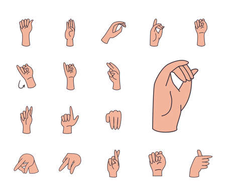 hand sign language alphabet line and fill style set of icons design of People help finger person learn communication healthcare theme Vector illustration