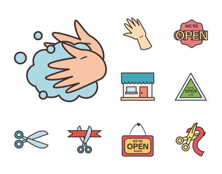 line and fill style set icons design of Shopping commerce and covid 19 theme Vector illustration Vettoriali