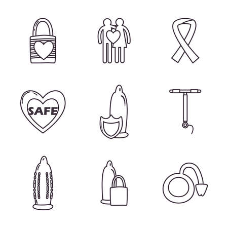 Sexual health line style icons collection design, protection and prevention theme Vector illustration