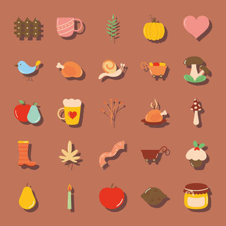 icon set of autumn and heart over brown background, flat style, vector illustration Vettoriali
