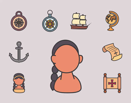 Columbus line and fill style set icons design of america and discovery theme Vector illustration