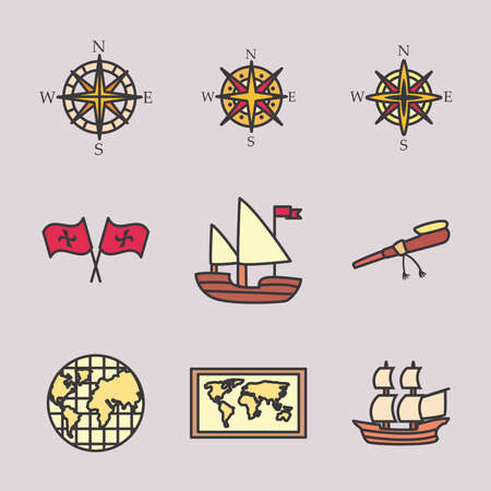 Columbus line and fill style icon set design of america and discovery theme Vector illustration