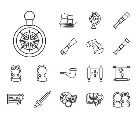 Columbus line style collection of icons design of america and discovery theme Vector illustration