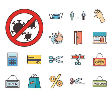 line and fill style set of icons design of Shopping commerce and covid 19 theme Vector illustration
