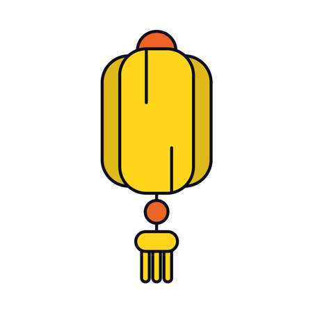 oriental lamp icon over white background, line and fill style, vector illustration