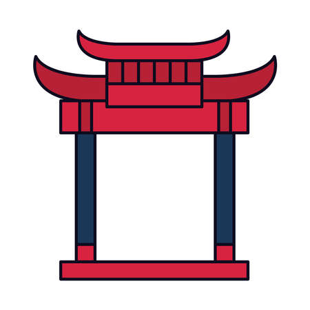oriental gate icon over white background, line and fill style, vector illustration Vettoriali