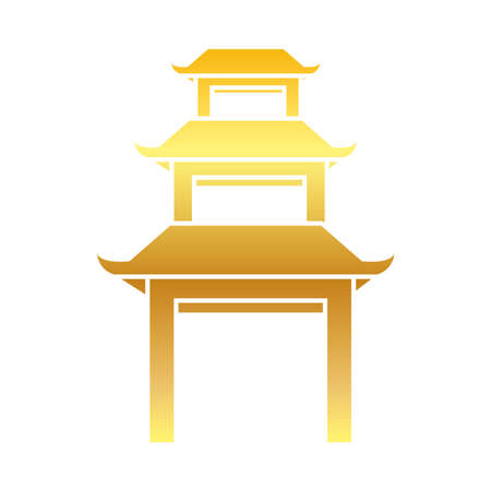 Mid autumn concept, oriental temple icon, gradient style, vector illustration Vettoriali