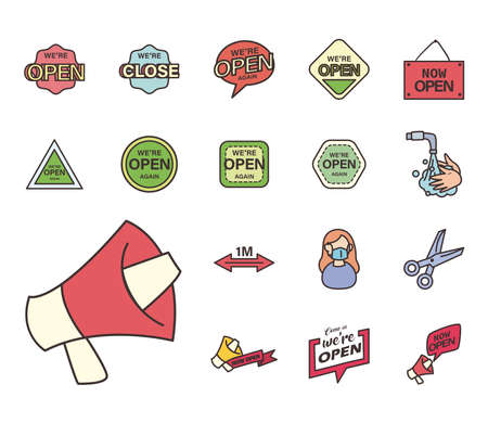 line and fill style collection of icons design of Shopping commerce and covid 19 theme Vector illustration