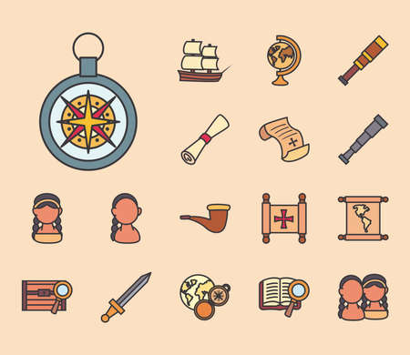 Columbus line and fill style collection of icons design of america and discovery theme Vector illustration