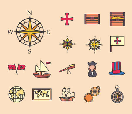 Columbus line and fill style set of icons design of america and discovery theme Vector illustration Vettoriali