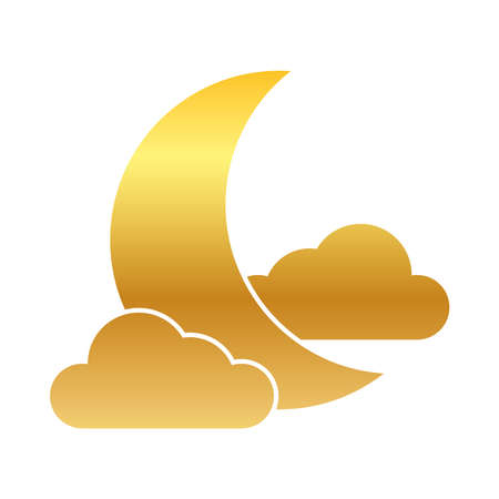 half moon and clouds icon over white background, gradient style, vector illustration Stock Illustratie