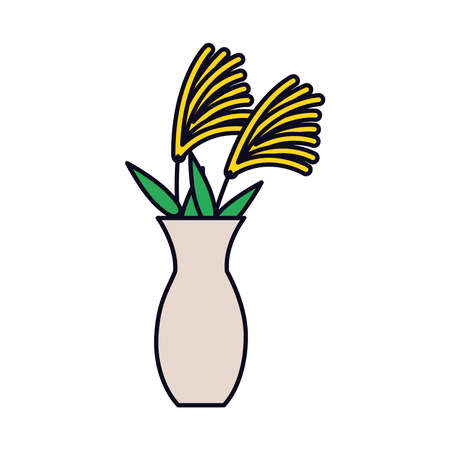 vase with flowers icon over white background, line and fill style, vector illustration