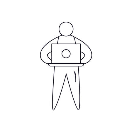 avatar man holding laptop line style icon design, Digital technology and communication theme Vector illustration