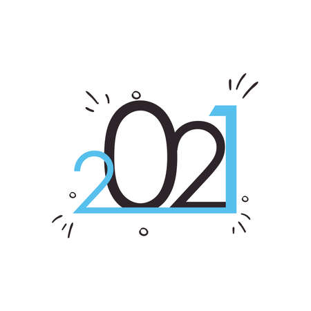 2021 with lines flat style icon design, Happy new year welcome celebrate and greeting theme Vector illustration
