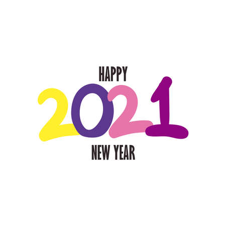 Happy new year 2021 flat style icon design, Welcome celebrate and greeting theme Vector illustration