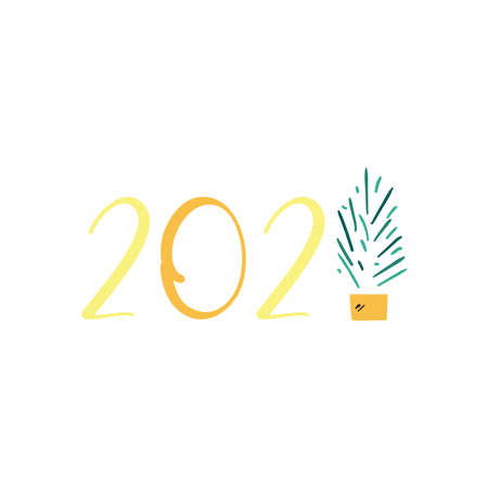 2021 with pine tree flat style icon design, Happy new year welcome celebrate and greeting theme Vector illustration 向量圖像