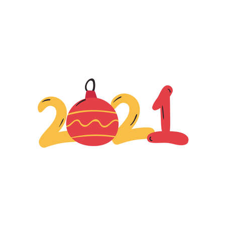 2021 with sphere flat style icon design, Happy new year welcome celebrate and greeting theme Vector illustration