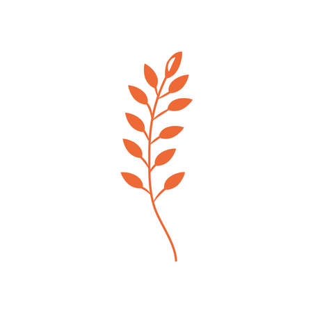 rowan leaf icon over white background, flat style, vector illustration Vetores