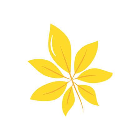 horse chestnut leaf icon over white background, flat style, vector illustration