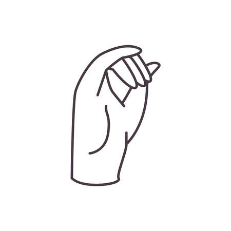 o hand sign language line style icon design of People help finger person learn communication healthcare theme Vector illustration