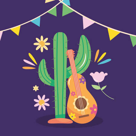Mexico independence day design with cactus and mexican guitar over purple background, colorful design, vector illustration Vectores
