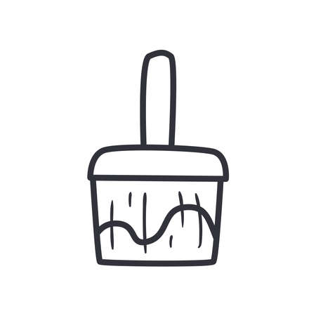 paint brush line style icon design of Construction working maintenance workshop repairing progress labor and industrial theme Vector illustration