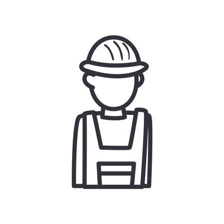 constructer man with helmet line style icon design of Construction working maintenance workshop repairing progress labor and industrial theme Vector illustration