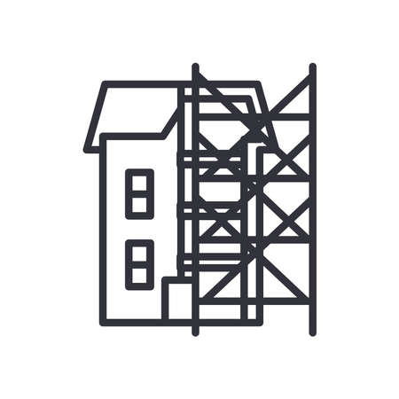 house with ladders line style icon design of Construction working maintenance workshop repairing progress labor and industrial theme Vector illustration