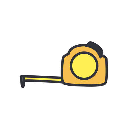 meter line and fill style icon design of Construction working maintenance workshop repairing progress labor and industrial theme Vector illustration