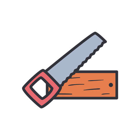 saw with wood line and fill style icon design of Construction working maintenance workshop repairing progress labor and industrial theme Vector illustration Illusztráció