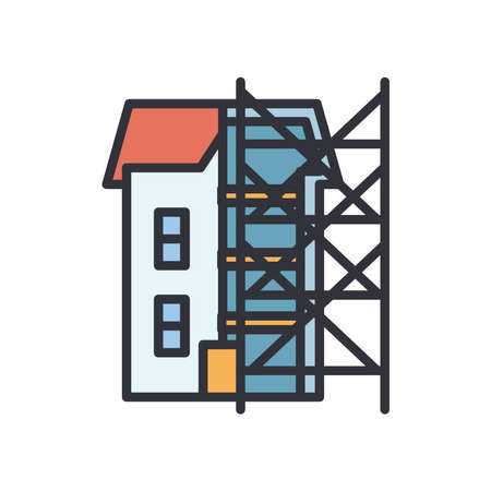 house with ladders line and fill style icon design of Construction working maintenance workshop repairing progress labor and industrial theme Vector illustration