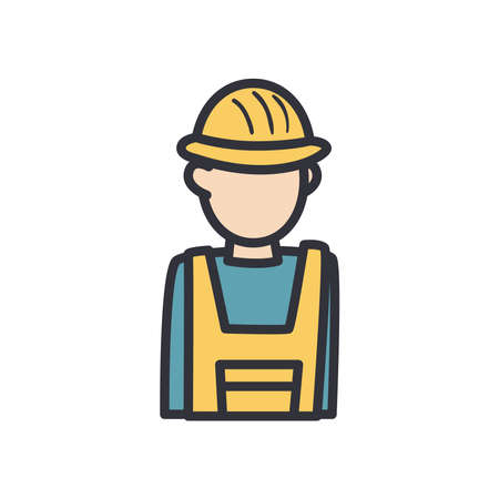 constructer man with helmet line and fill style icon design of Construction working maintenance workshop repairing progress labor and industrial theme Vector illustration