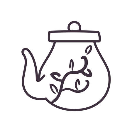 Tea kettle line style icon design, Time drink breakfast and beverage theme Vector illustration 向量圖像