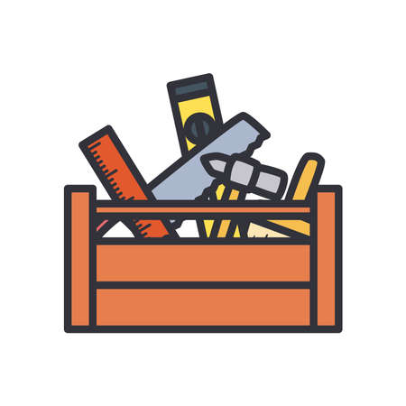 tools basket line and fill style icon design of Construction working maintenance workshop repairing progress labor and industrial theme Vector illustration