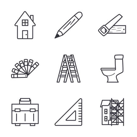 line style icons collection design of Construction working maintenance workshop repairing progress labor and industrial theme Vector illustration Illusztráció