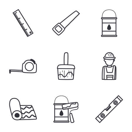 line style icon set design of Construction working maintenance workshop repairing progress labor and industrial theme Vector illustration