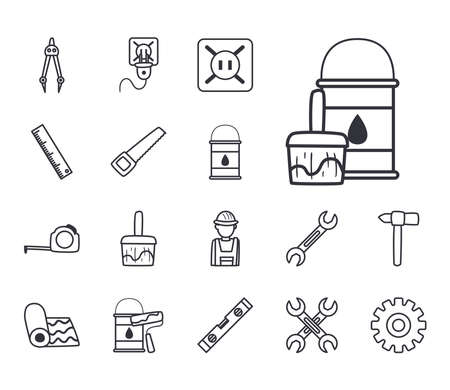 line style set of icons design of Construction working maintenance workshop repairing progress labor and industrial theme Vector illustration