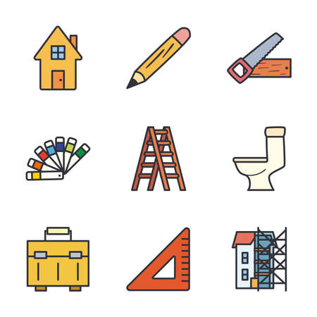 line and fill style icons collection design of Construction working maintenance workshop repairing progress labor and industrial theme Vector illustration